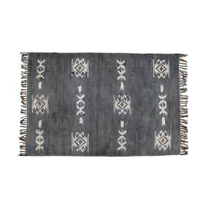 Hamadan - Tapis imprimé au pochoir et à franges