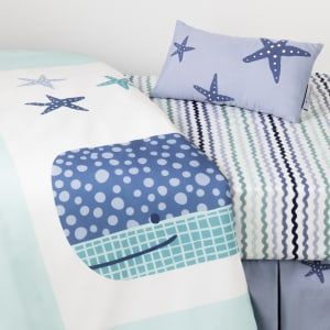Dreamit - Little Whale 3-Piece Baby Crib Bed Set and Pillow