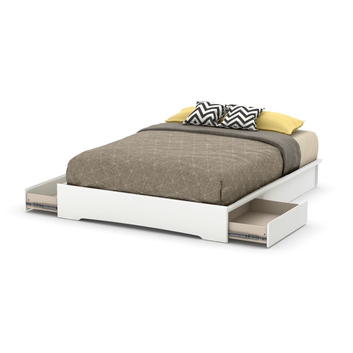 Step One Platform Bed With 2 Drawers, White Queen Size Platform Beds With Storage