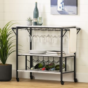 Maliza - Bar Cart with Wine Bottle Storage and Wine Glass Rack