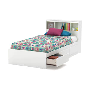 Reevo - Mates Bed With Bookcase Headboard Set
