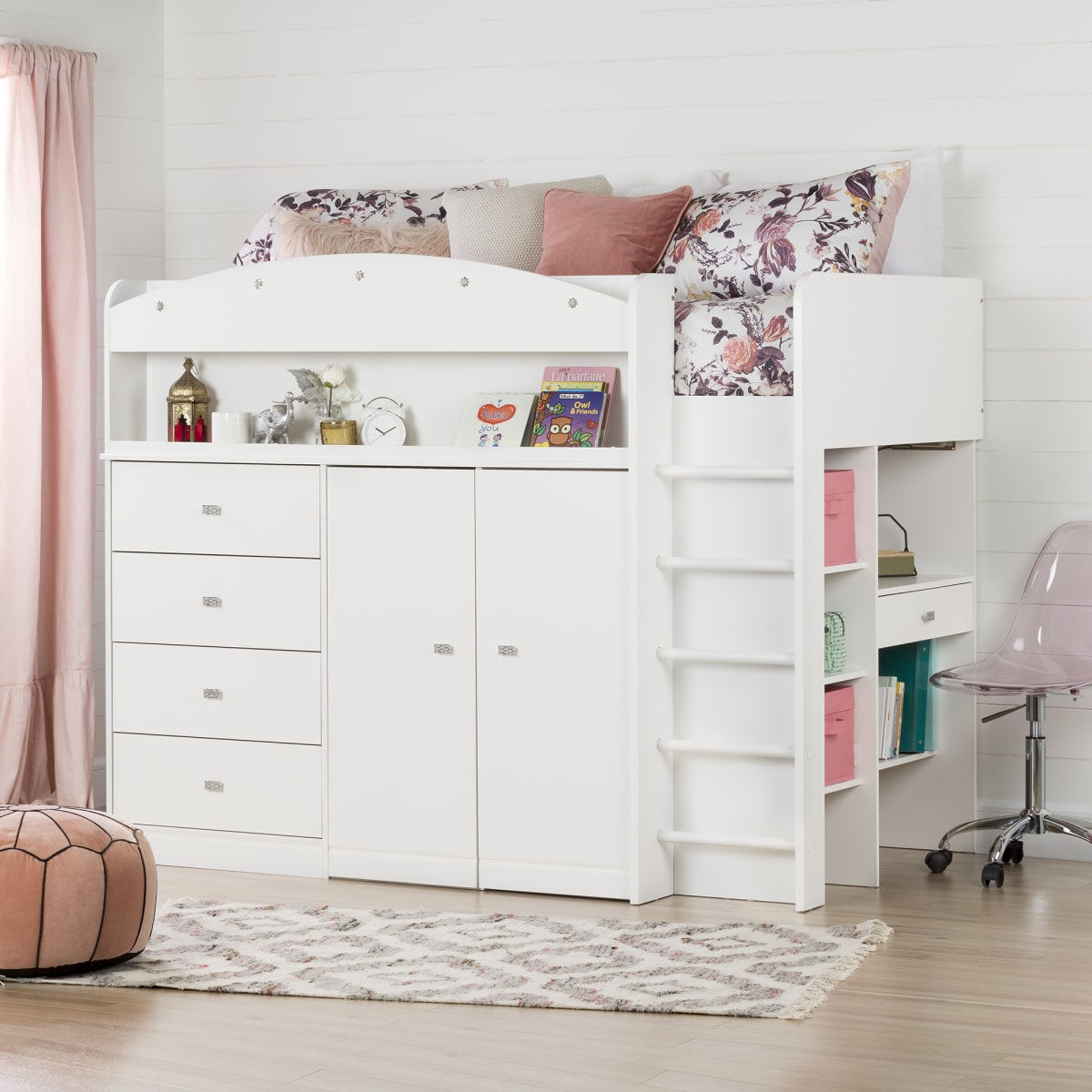 Tiara Loft Bed With Desk Bed Kids Bedroom Baby And Kids Products South Shore Furniture Us Furniture For Sale Designed And Manufactured In North America