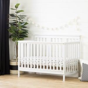 Little Smileys - Modern Baby Crib - Adjustable Height Mattress with Toddler Rail