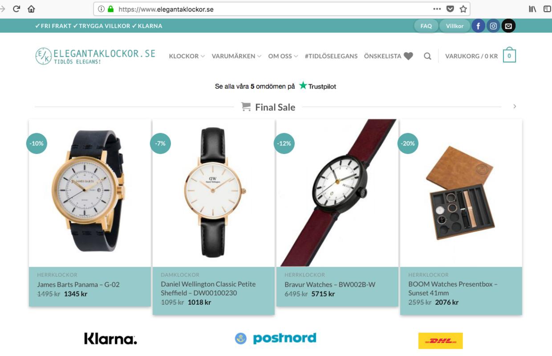 Startsida hos Elegantaklockor.se