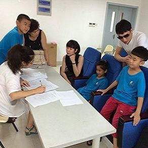children attending camp for left-behind children