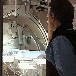patient undergoing interventional radiology procedure
