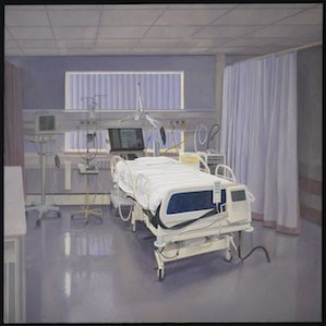 Painting showing an ICU bed