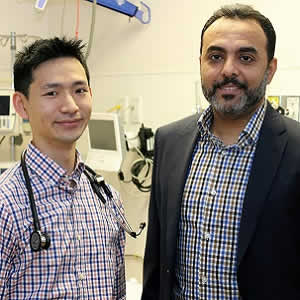 Derek Chu, left, McMaster University clinical fellow, and Waleed Alhazzani, assistant professor of medicine at McMaster, led a study published in The Lancet on oxygen use in adult patients.