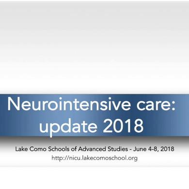 NeuroIntensive Care: Update 2018
