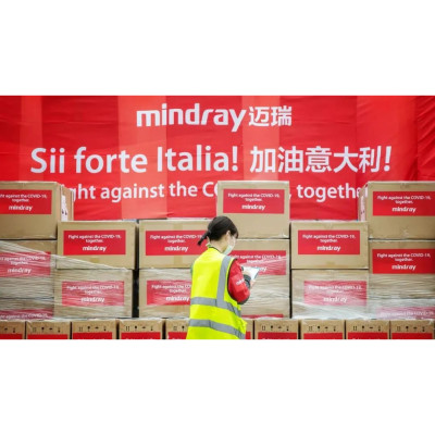 Mindray staff is checking the first package of supplies for Italy