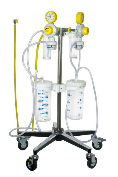 Surgical suction pump / on casters / vacuum-powered Flow-Meter