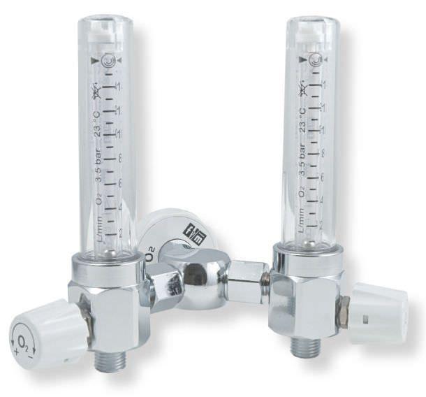 Oxygen double flow meter / variable-area / plug-in type 1 - 50 L/mn | RS TWIN Flow-Meter