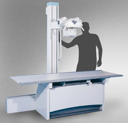 Height-adjustable radiography table / electrical / with tube-stand CS 2000 Josef Betschart