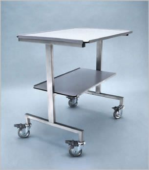 Instrument table / on casters / 2-tray 400 003 Hedo Medizintechnik