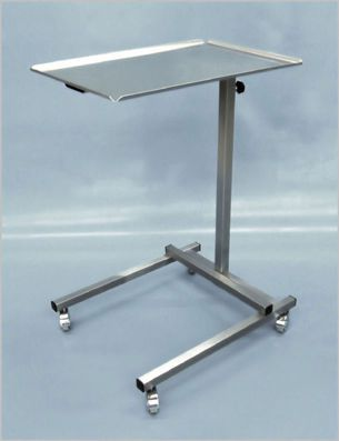 Height-adjustable instrument table / on casters / stainless steel / 1-tray 400 000-3 Hedo Medizintechnik