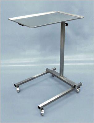 Height-adjustable instrument table / on casters / stainless steel / 1-tray 400 000-3 Hedo Medizintechnik