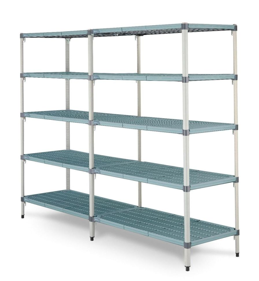 Stainless steel shelving unit / 4-shelf Sclessin Productions