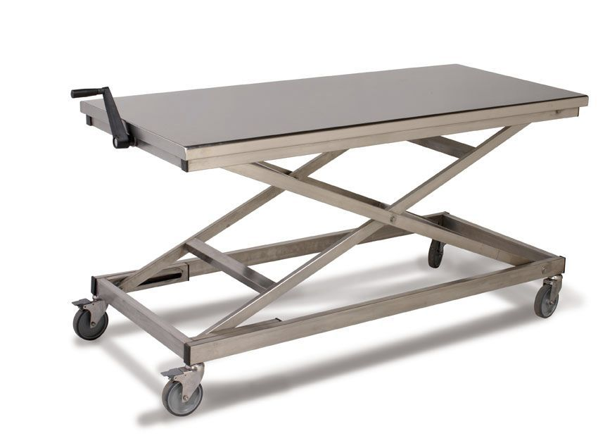 Work table / height-adjustable / stainless steel Sclessin Productions