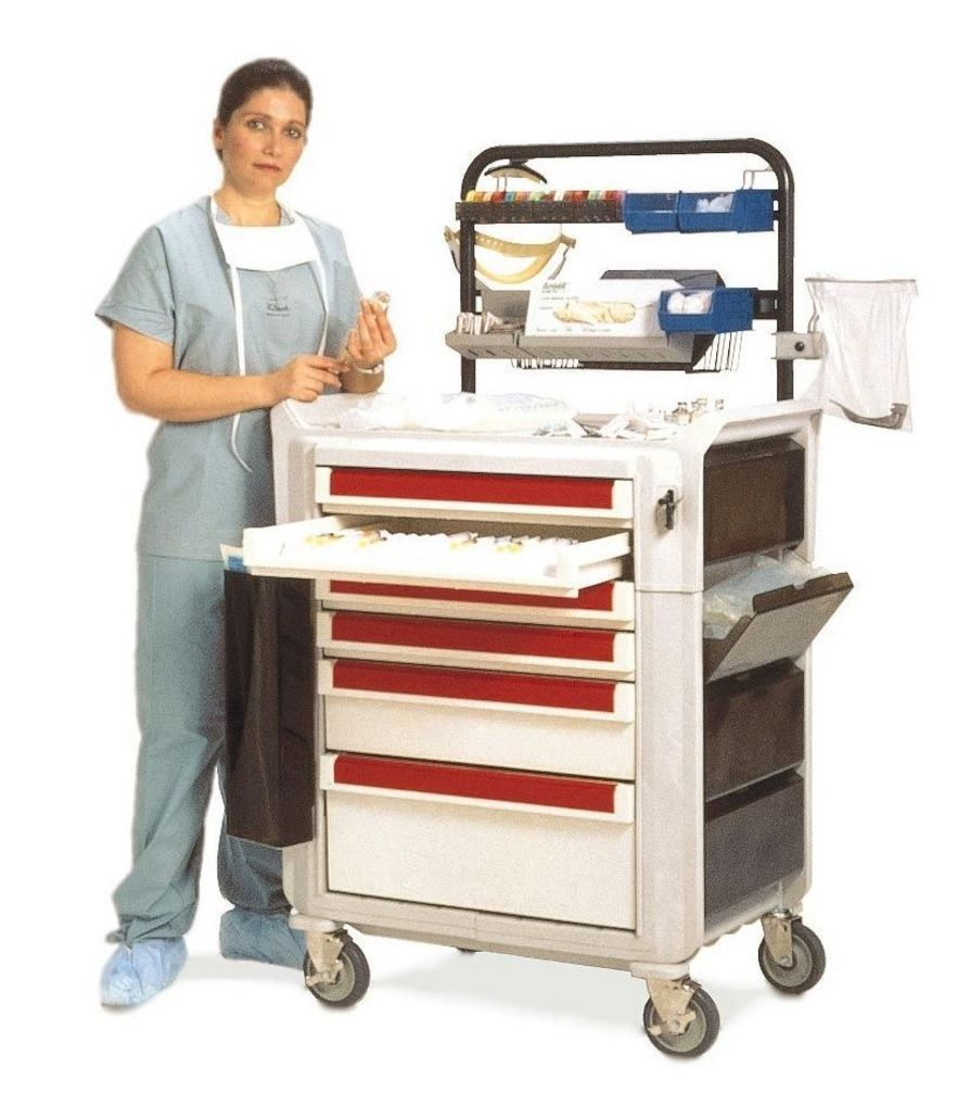 Anesthesia trolley / with shelf unit / with side bin METROFLEX Sclessin Productions