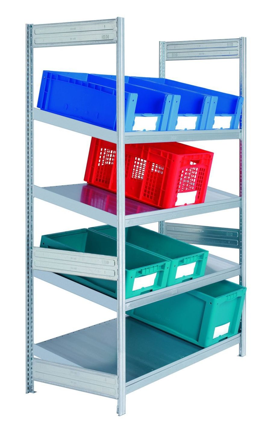 Inclined shelving unit / 4-shelf Sclessin Productions