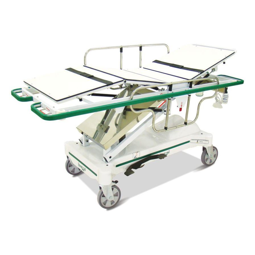 Transport stretcher trolley / X-ray transparent / height-adjustable / hydro-pneumatic HM 2059 E Hospimetal Ind. Met. de Equip. Hospitalares