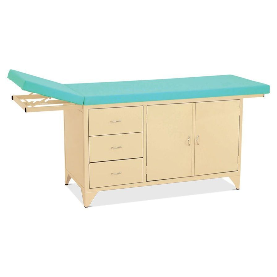Fixed examination table / 2-section / with storage unit HM 2014 Hospimetal Ind. Met. de Equip. Hospitalares
