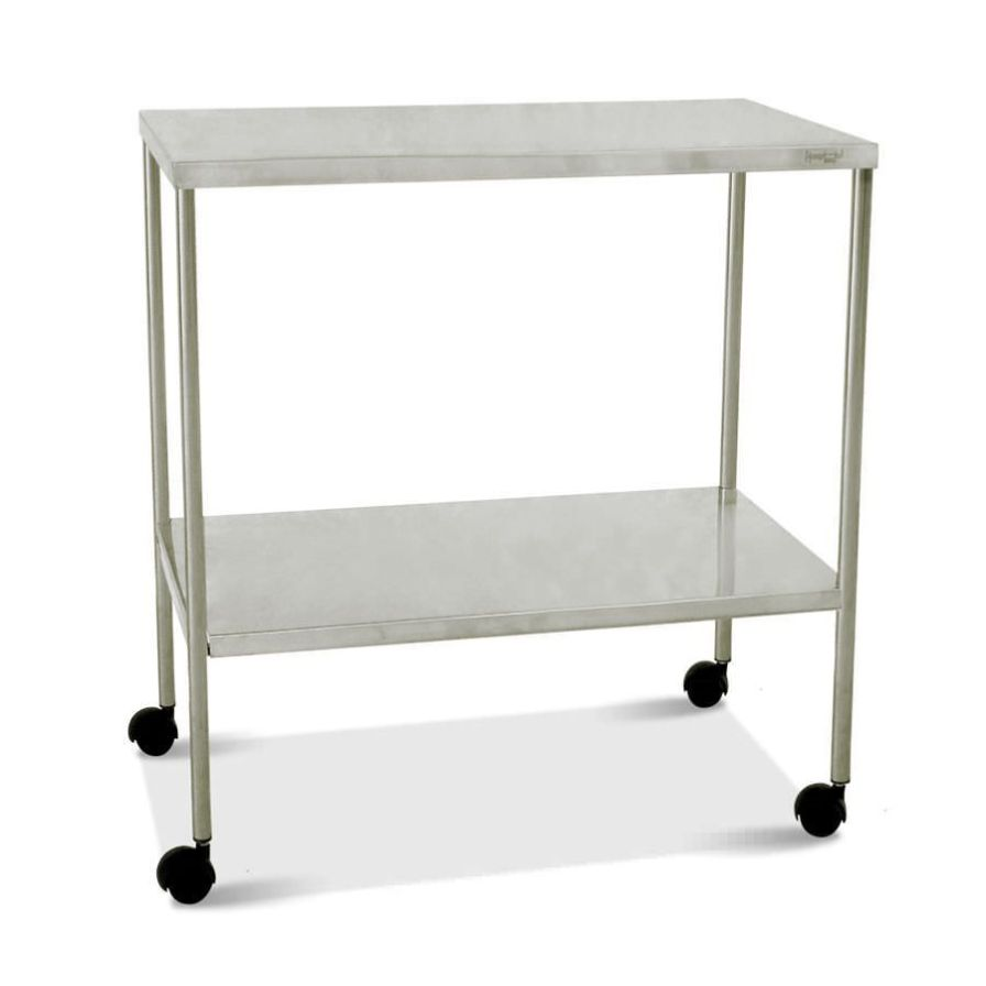 Stainless steel instrument table / on casters / 2-tray HM 2030 E Hospimetal Ind. Met. de Equip. Hospitalares