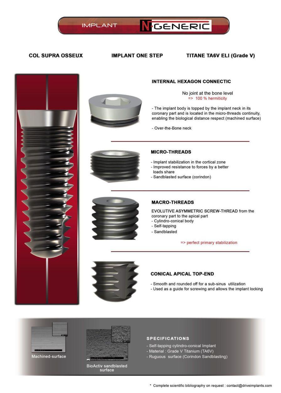 Cylindrical dental implant / titanium / internal hexagon N-Generic Drive Dental Implants