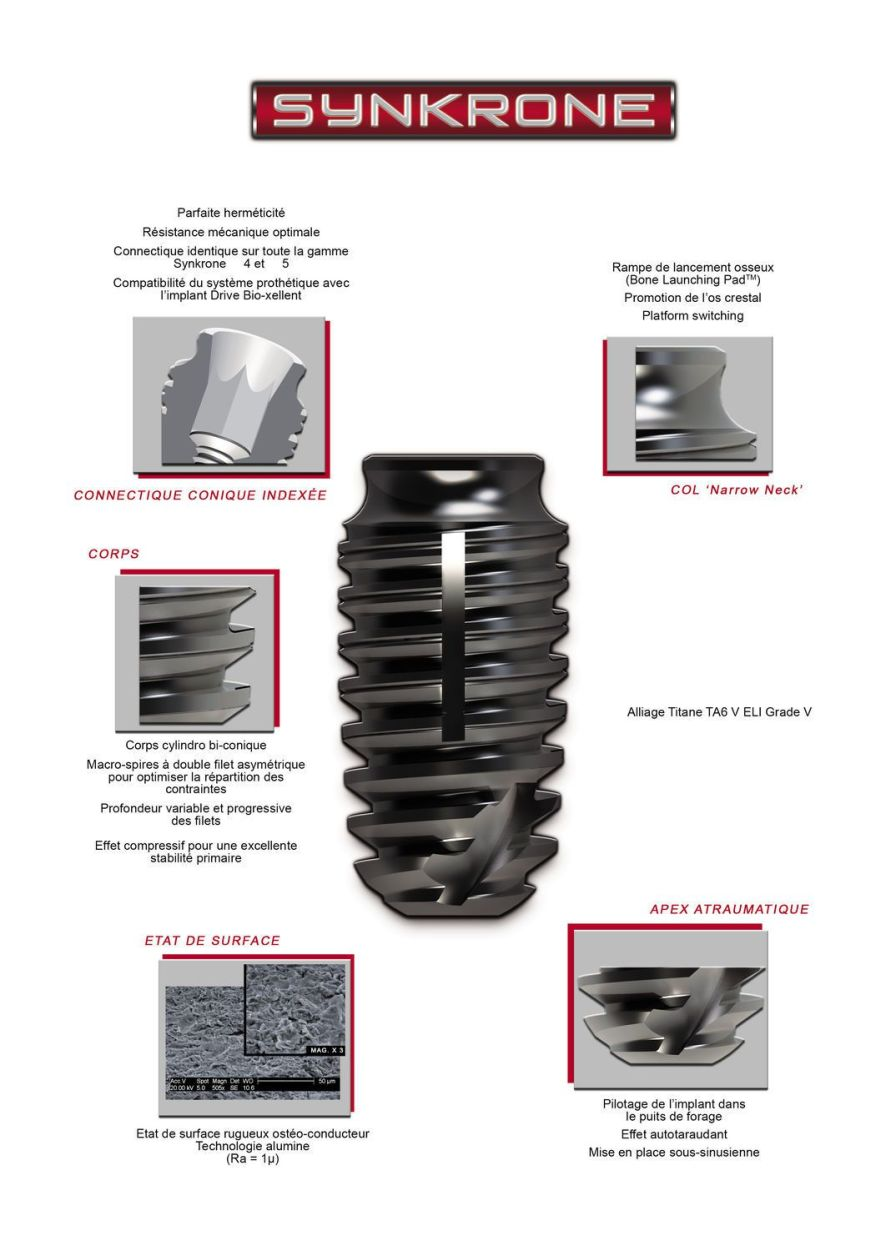 Cylindrical bi-conical dental implant / post-extraction Synkrone Drive Dental Implants