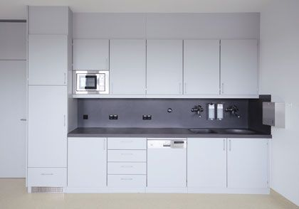 Healthcare facility worktop / with storage unit / modular HT Labor + Hospitaltechnik