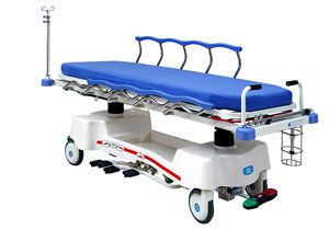 Transport stretcher trolley / X-ray transparent / height-adjustable / hydraulic Chevalier Series Chang Gung Medical Technology