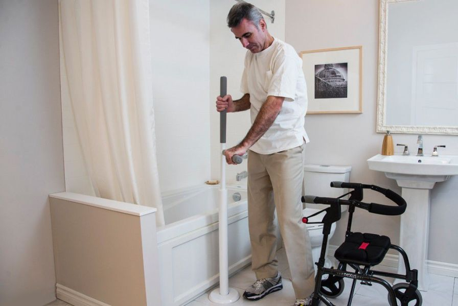 Bed grab bar / bathroom / floor-mounted Advantage Rail HealthCraft Product Inc