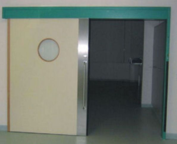 Laboratory door / hospital / sliding / hermetic EMV