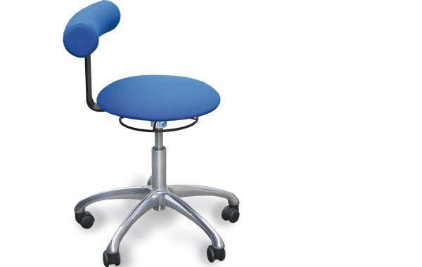 Medical stool / on casters / height-adjustable / with backrest Möckel Feinmechanik
