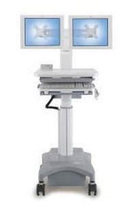 Medical computer cart / battery-powered / height-adjustable HC-122 Modern Solid Industrial