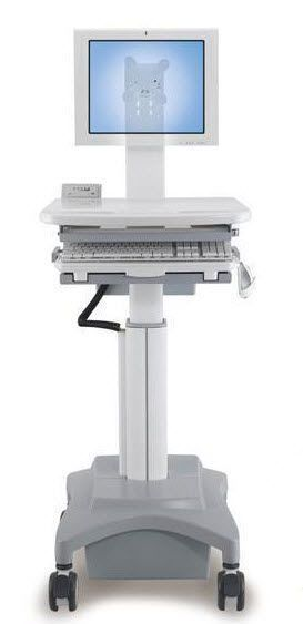Medical computer cart / battery-powered / height-adjustable HC-121 Modern Solid Industrial