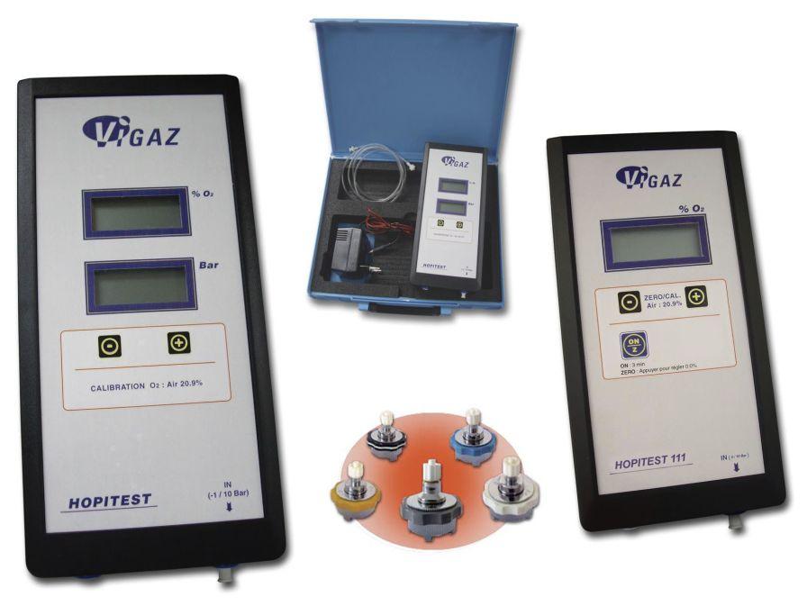 Medical gas outlet analyzer with oxygen manometer 0.0 - 100% O2, -1.0 ... 10 Bar | HOPITEST 111-121 VIGAZ