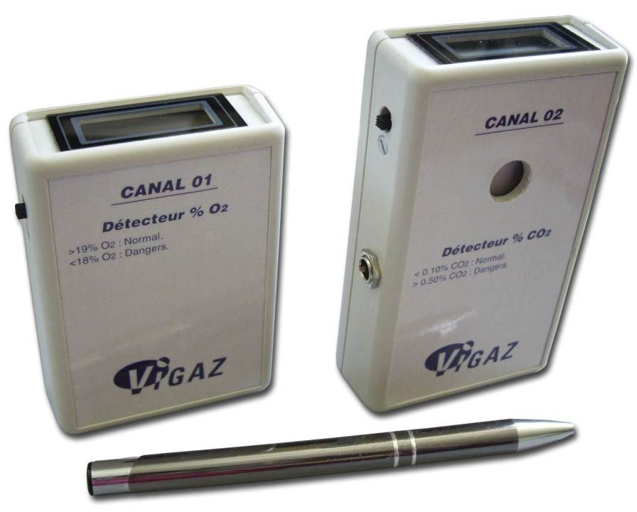Atmosphere oxygen and carbon dioxide analyzer 0 - 100% O2, 0.01 - 1.00% CO2 | CANAL01-02 VIGAZ