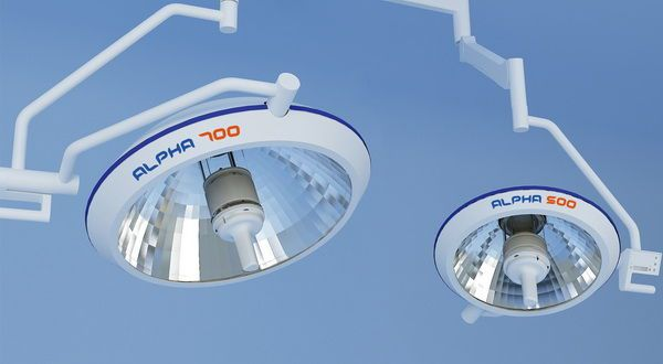 Halogen surgical light / with control panel / ceiling-mounted / 1-arm ALPHA Wuxi Comfort Medical Equipment