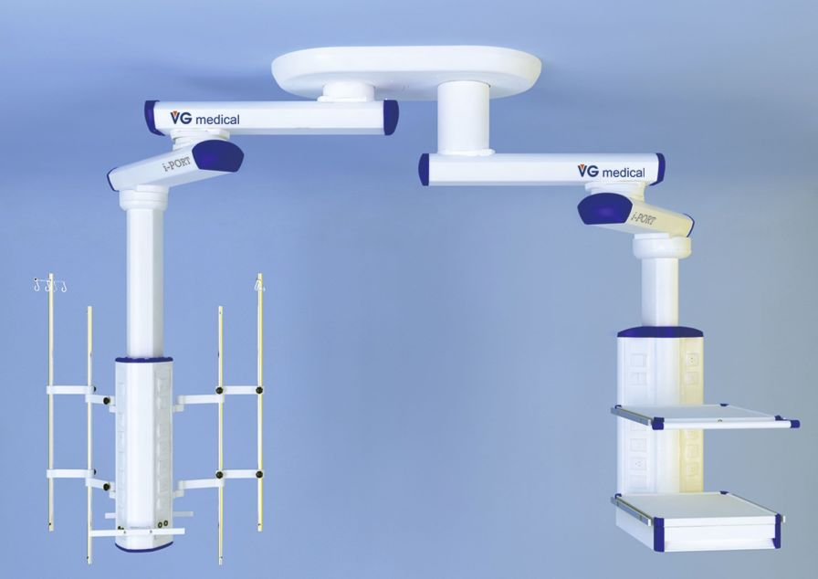Ceiling-mounted double medical pendant / articulated / with column twin-tower Wuxi Comfort Medical Equipment