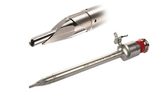 Laparoscopic trocar / with insufflation tap / with obturator / with blade XION