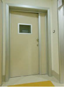 Swinging door / radiation shielding / hardwood / with glass panel Cablas