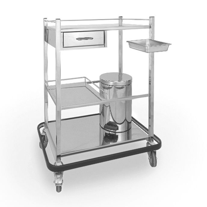 Dressing trolley / with drawer / stainless steel / 3-tray 2.08.009 Lubb