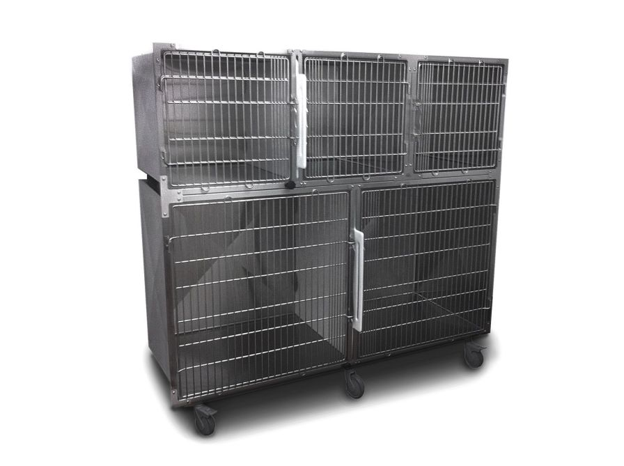 Stainless steel kennel cage / double deck / 5 units 2.03.006 Lubb
