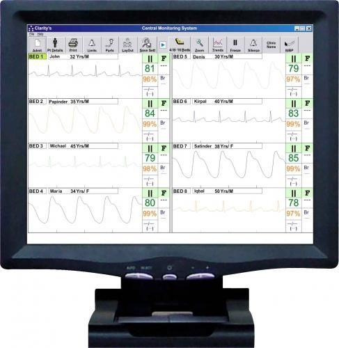 Patient central monitoring station / 16-bed Clarity CMS Clarity Medical