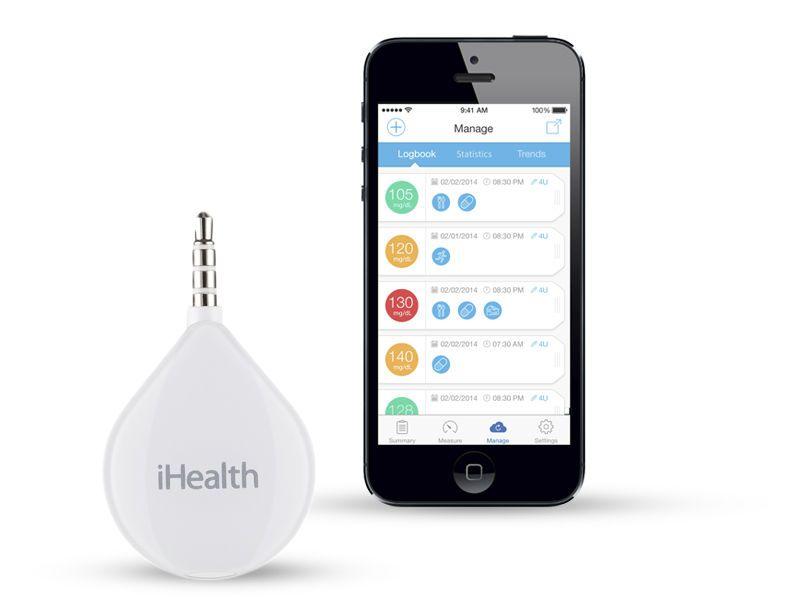 Mobile phone module blood glucose meter 20 - 600 mg/dL | iHealth Align BG1 iHealth