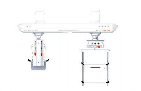 Ceiling-mounted supply beam system / modular / with column / with shelves Abitus Tedisel Medical