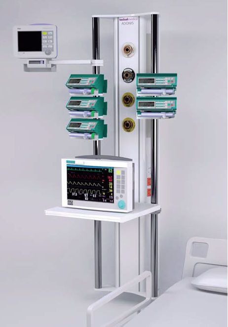 Ceiling-mounted supply column / with shelves / ICU Adonis Tedisel Medical