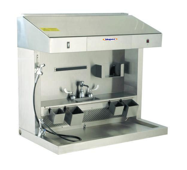 Macroscopy workstation / with backdraft ventilation / with downdraft ventilation / 1-station ME100 Mopec