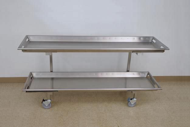 Mobile shelving unit / mortuary storage / stainless steel / 2-shelf JB000 Mopec